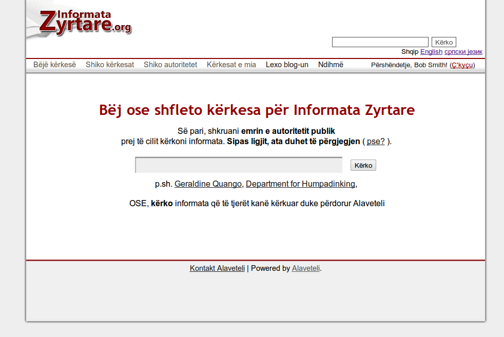 The current Informata Zyrtare theme